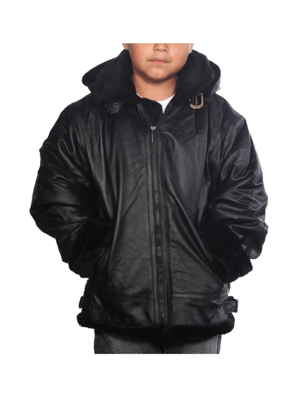 Black Faux Fur K109 Leather jackets with removable hoods Picture