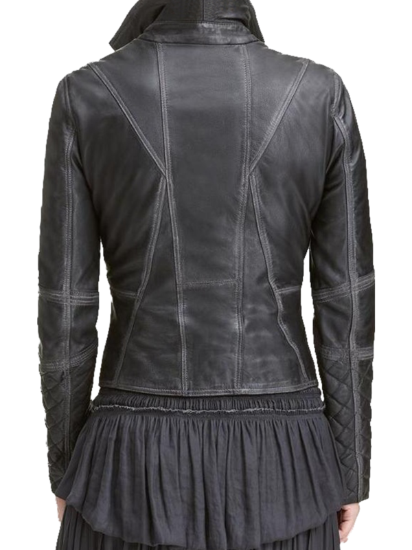 High Quality Black Color Lexi Quilted Asymmetrical leather jacket Picture